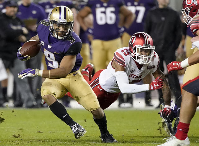 Washington running back Myles Gaskin (9) has scored 10 rushing TDs in 2018. (AP)