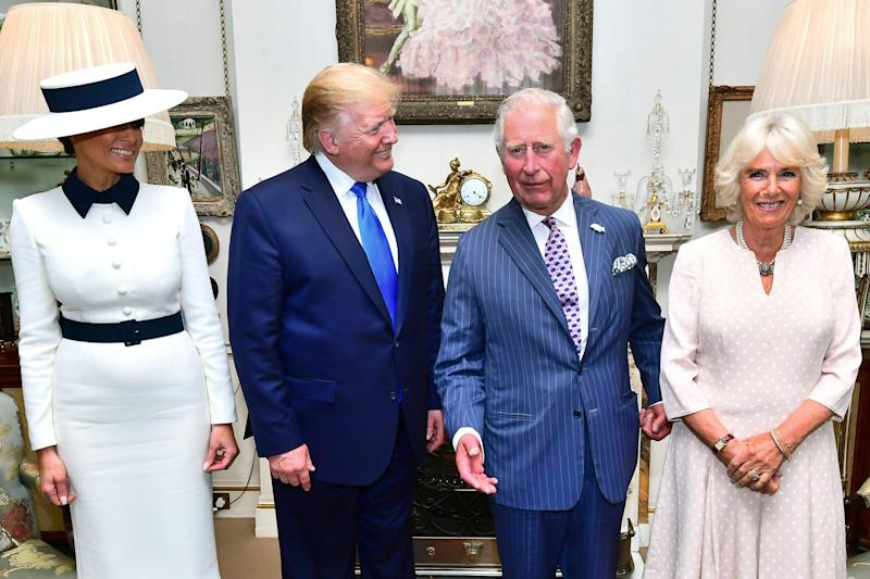 US President Donald Trump and his wife Melania, left, pose for a photo with Britain's Prince Charles and Camilla, the Duchess of Cornwall prior to afternoon tea at Clarence House, in London, June 3, 2019. Trump is on a three-day state visit to Britain. (Photo: Victoria Jones/Pool Photo via AP)