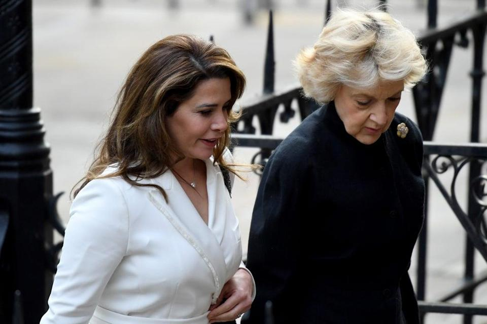 Princess Haya arriving with her Baroness Shackleton at the High Court in February 2020 (Getty Images)
