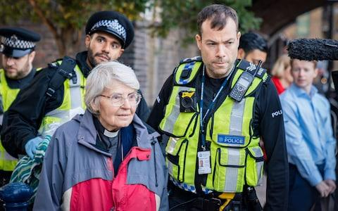 Reverend Sue Parfitt, 77, from Bristol is arrested - Credit: @lepkirk/ Vladimir Morozov/akxmedia