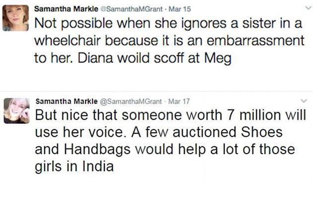 Samantha, who is wheelchair bound after her battle with multiple sclerosis, hit out at Meghan in a series of tweets. Photo: Twitter
