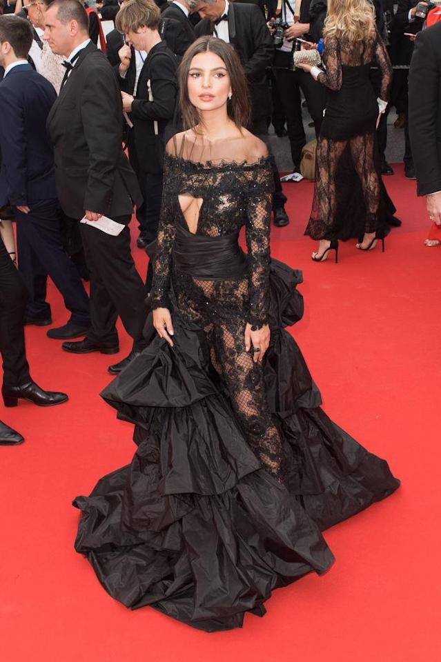 <p>The model and actress woere not-so-basic black in Cannes. (Photo by Samir Hussein/WireImage) </p>
