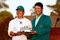 """""""When I saw my caddie, Shota, and hugged him, I was happy for him because this is his first victory on the bag,"""" said Matsuyama"""