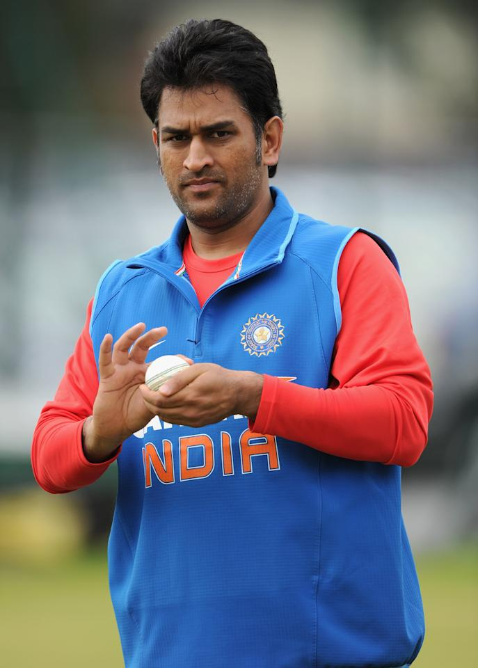 MANCHESTER, ENGLAND - AUGUST 30:  Indian captain MS Dhoni during a nets session at Old Trafford on August 30, 2011 in Manchester, England.  (Photo by Gareth Copley/Getty Images)