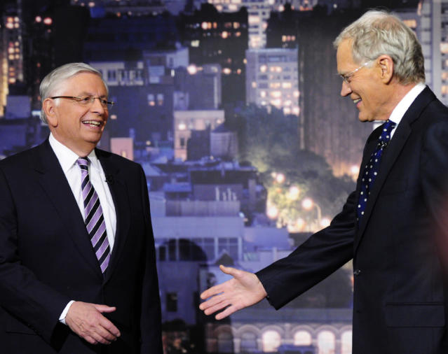 "In this photo provided by CBS, outgoing NBA Commissioner David Stern, left, prepares to shake hands with host David Letterman on the set of the ""Late Show with David Letterman,"" Wednesday, Jan. 29, 2014 in New York. Stern read the show's Top Ten List. (AP Photo/CBS, John Paul Filo) MANDATORY CREDIT; NO ARCHIVE; NO SALES; NORTH AMERICAN USE ONLY"