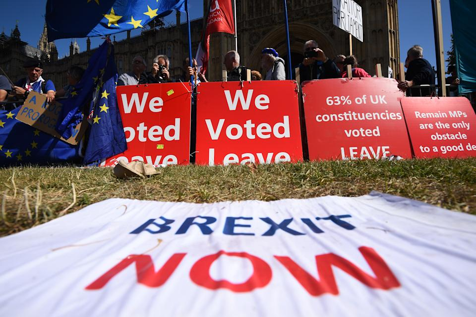 Brexit protesters outside the Houses of Parliament in Westminster, London.