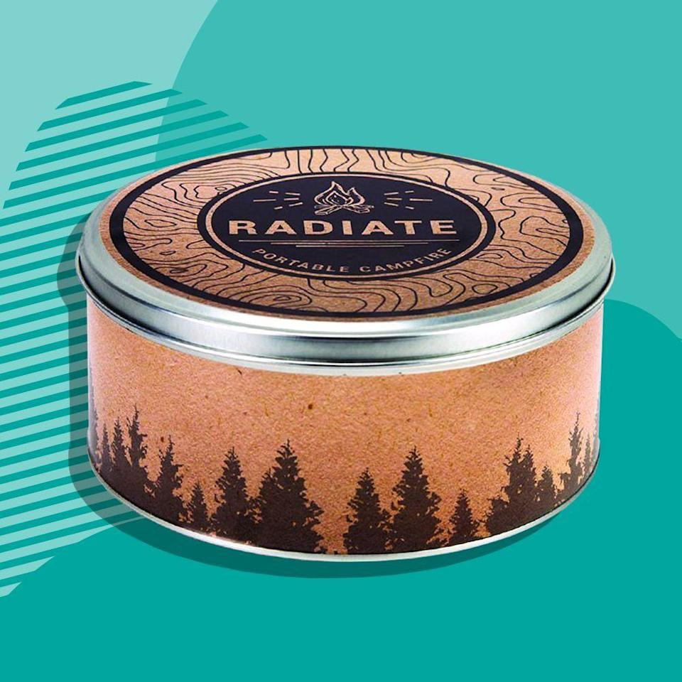 """<p><strong>Radiate</strong></p><p>amazon.com</p><p><strong>$27.99</strong></p><p><a href=""""https://www.amazon.com/dp/B073QXYW38?tag=syn-yahoo-20&ascsubtag=%5Bartid%7C2089.g.376%5Bsrc%7Cyahoo-us"""" rel=""""nofollow noopener"""" target=""""_blank"""" data-ylk=""""slk:Shop Now"""" class=""""link rapid-noclick-resp"""">Shop Now</a></p><p>For anyone who loves to sit back and relax near the campfire but doesn't have the space or wherewithal to build one, gift them this nifty little thing. </p><p>The candle-like """"campfire"""" has 3 to 5 hours of burn time and is sleek enough to bring the campfire wherever — be it the beach, the backyard, or anywhere else! </p>"""