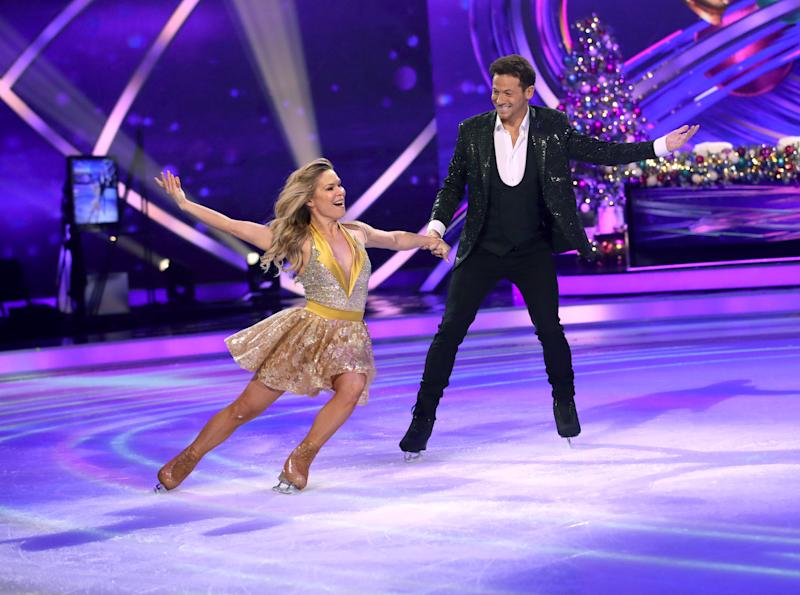 LONDON, ENGLAND - DECEMBER 09: Joe Swash and Alexandra Schauman during the Dancing On Ice 2019 photocall at ITV Studios on December 09, 2019 in London, England. (Photo by Mike Marsland/WireImage)