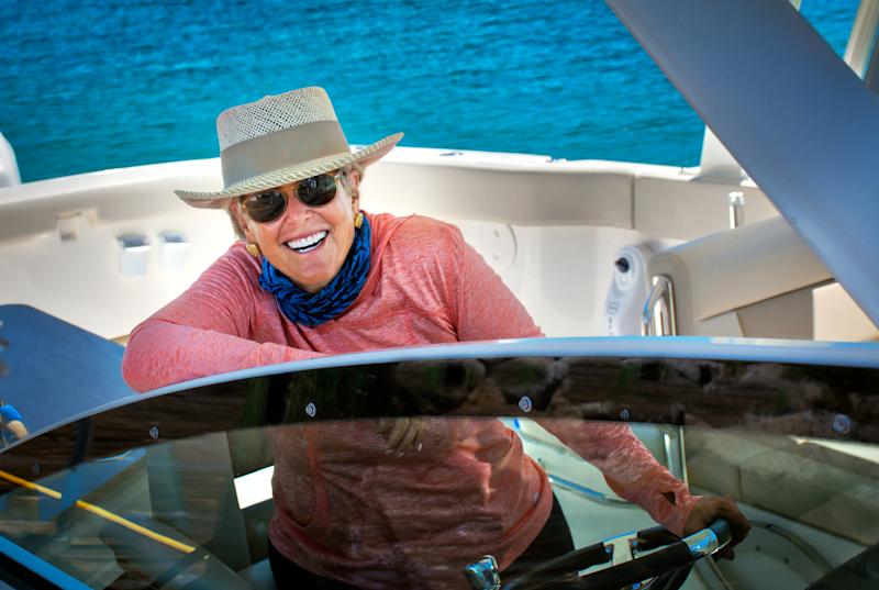 The author, Suze Orman, on her boat in the Bahamas, where she plans to spend her retirement.