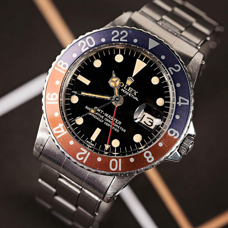 """<p>bobswatches.com</p><p><a href=""""https://www.bobswatches.com/rolex-auctions/vintage-rolex-gmt-master-1675-131055"""" rel=""""nofollow noopener"""" target=""""_blank"""" data-ylk=""""slk:SEE PRICE & BID NOW"""" class=""""link rapid-noclick-resp"""">SEE PRICE & BID NOW</a></p>"""