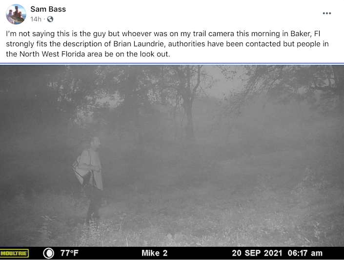 Authorities are looking in to a potential sighting of Brian Laundrie on a deer cam (Sam Bass/Facebook)