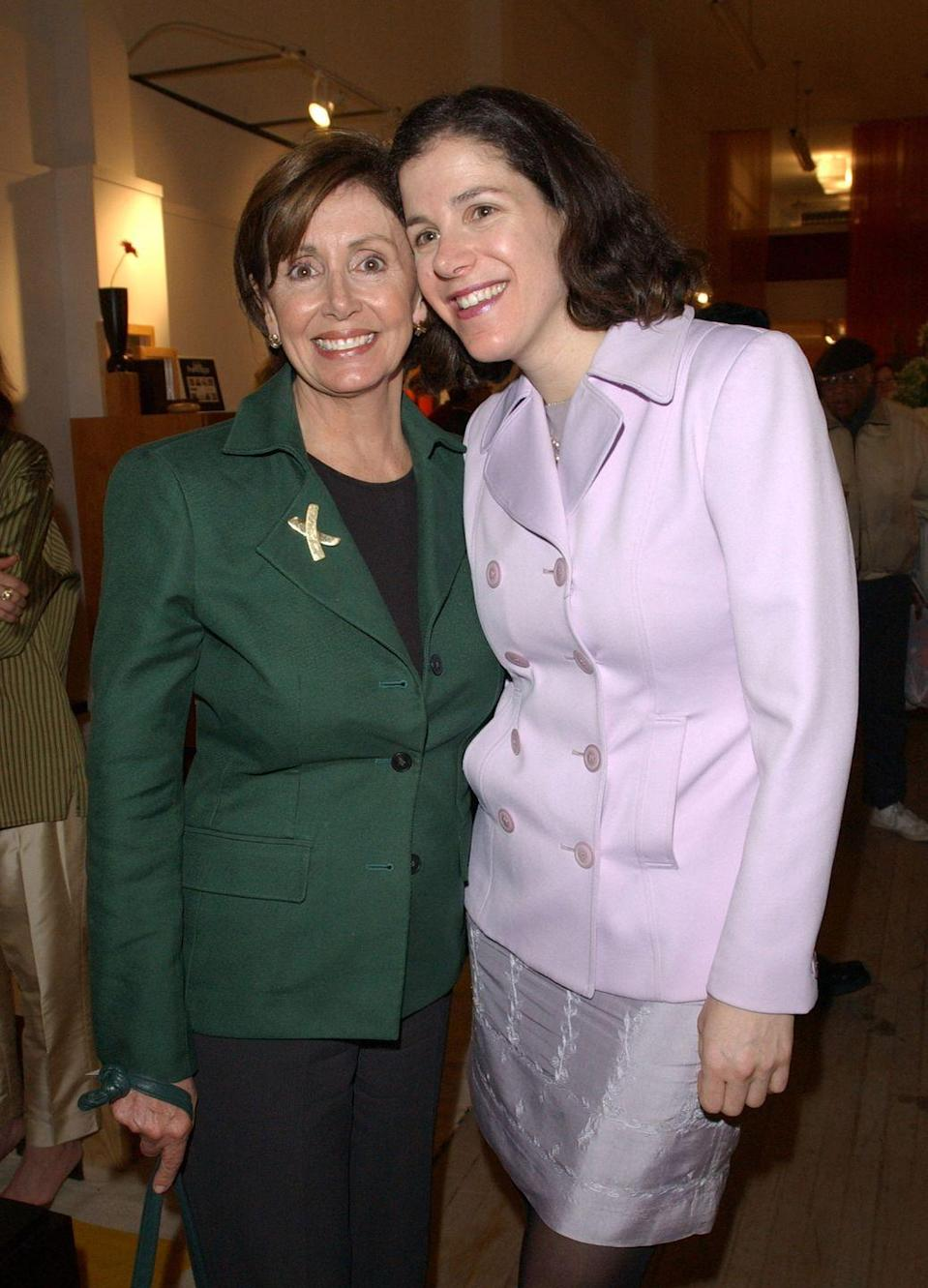 <p>Nancy and her daughter Alexandra Pelosi at the premiere of <em>Journeys with George, </em>a documentary Alexandra directed covering George W. Bush's presidential campaign. </p>