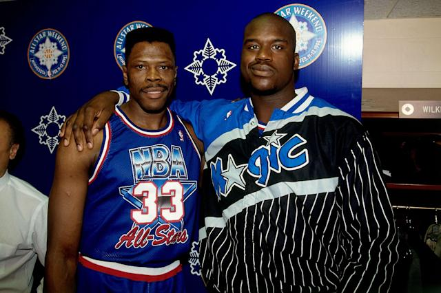 Patrick Ewing and Shaquille O'Neal. None more '90s. (Getty)