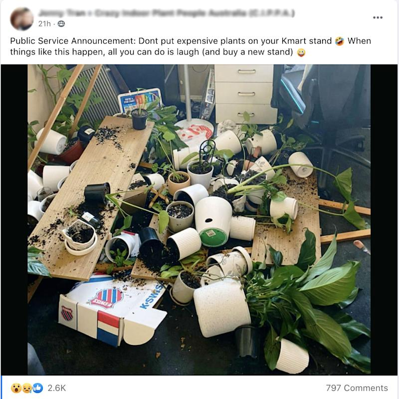 A Kmart shopper's shelves have collapsed, sending potted plants and soil all over the floor. Photo: Facebook.