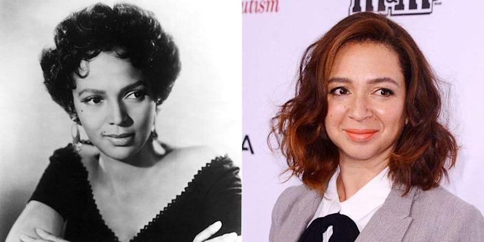 <p>Actresses Dorothy Dandridge and Maya Rudolph share the same oval-shaped face and subtle smile. </p>