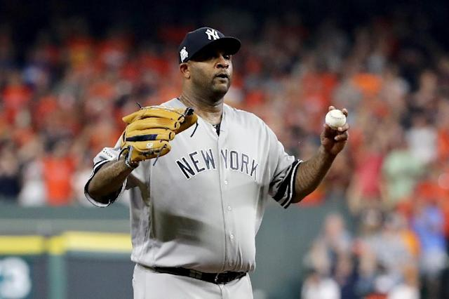C.C. Sabathia of the New York Yankees is baseball's active leader with 2,846 career strikeouts and 3,317 innings pitched over 17 major league seasons (AFP Photo/ELSA)