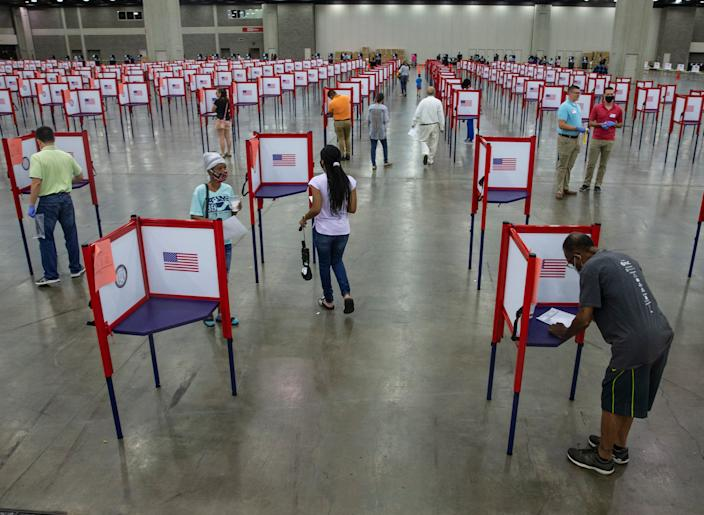 Primary Election Day voting at the Fair and Exposition Center in Louisville, Kentucky. June 23, 2020
