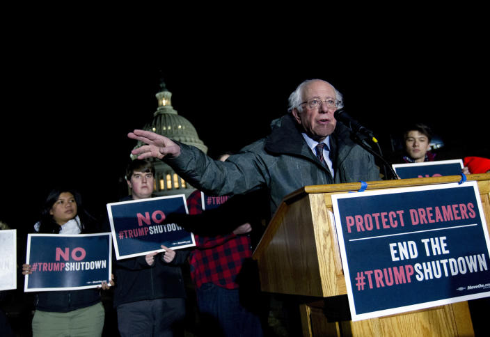 Sen. Bernie Sanders speaks at a rally on Capitol Hill in support of DACA and before the government shut down on Jan. 19. (Photo: Jose Luis Magana/AP)