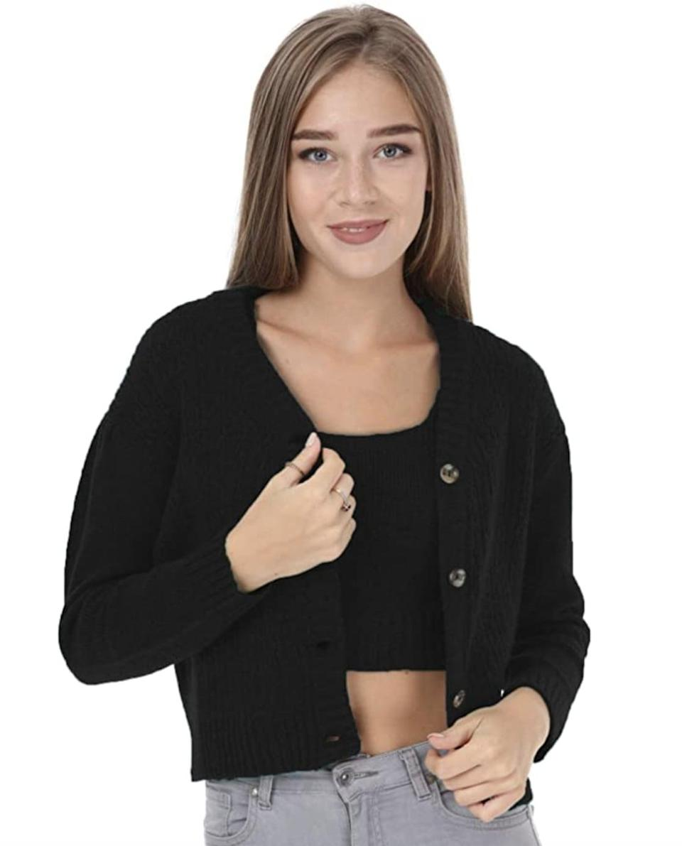 <p>This trendy <span>Beneliza Cardigan Set</span> ($28) is not only feels soft and fuzzy to the touch, but it's designed with a relaxed fit that will keep you comfortable all day. Wear it with high-waist jeans to cover up your belly button for casual Friday.</p>