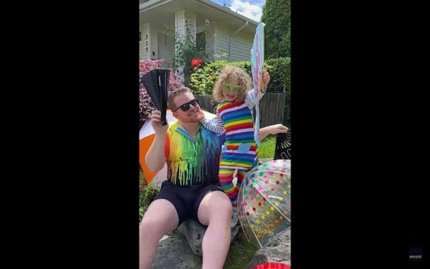 PHOTO: Ricky Shankar and Nic Marcheso, and their children, London and Roman, celebrated Pride with a mini-parade in their Seattle neighborhood. (Ricky Shankar/Storyful)