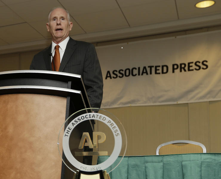 Miami coach Jim Larranaga speaks during a news conference where he was introduced as The Associated Press College Basketball Coach of the Year on Thursday, April 4, 2013, in Atlanta. Larranaga led Miami to the Atlantic Coast Conference regular season and tournament titles and a No. 2 ranking. (AP Photo/John Bazemore)
