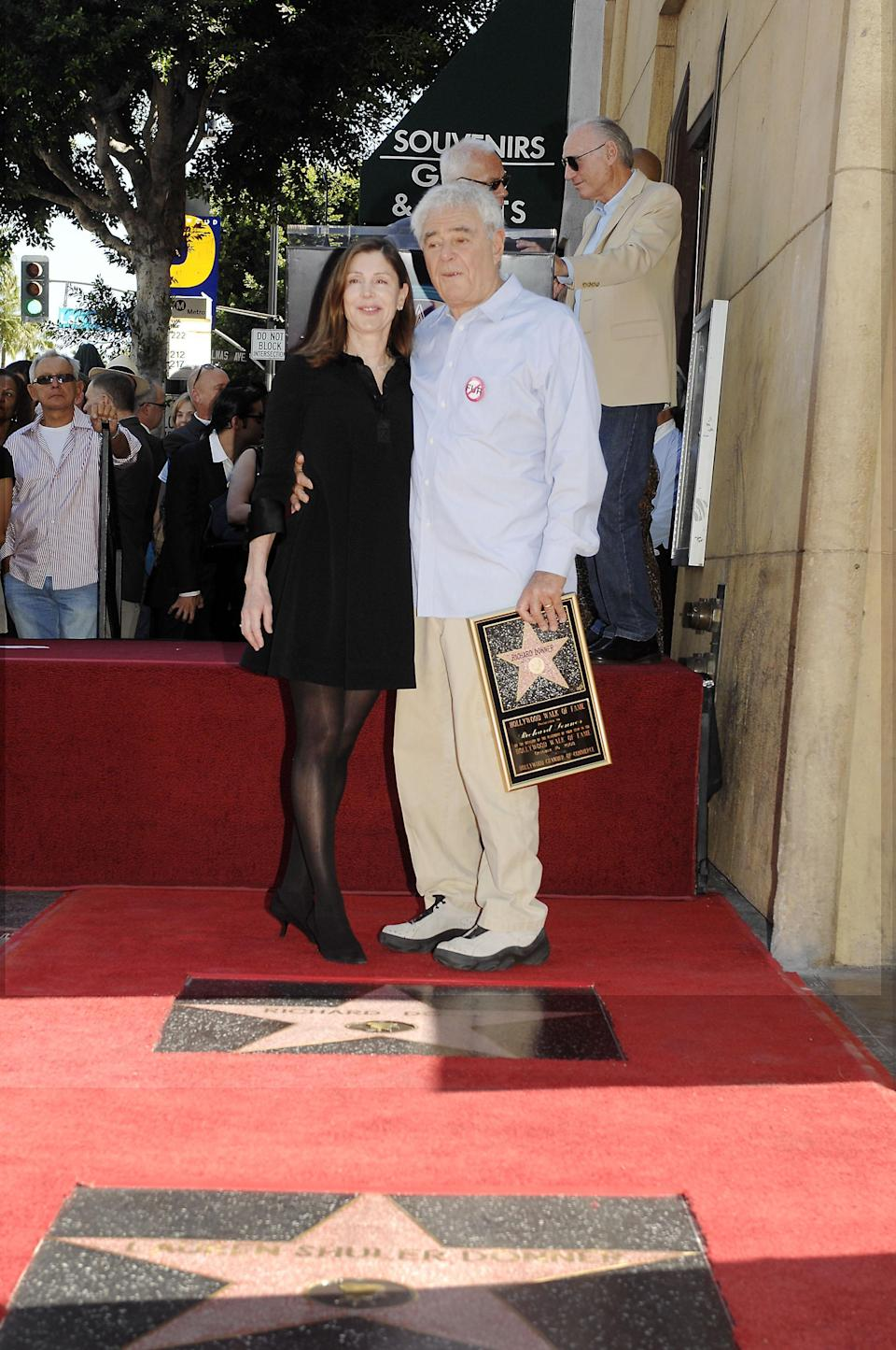 Lauren Schuler Donner, Richard Donner at the induction ceremony for Star on the Hollywood Walk of Fame for Richard Donner and Lauren Shuler Donner, Hollywood Boulevard, Hollywood, CA, October 16, 2008. Photo by: Michael Germana/Everett Collection - Credit: Everett Collection