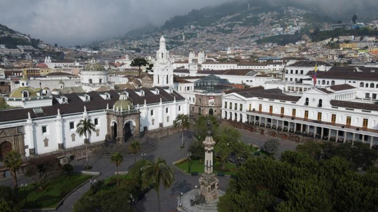 Aerial view of the empty Plaza Grande square in Quito on March 25, 2020