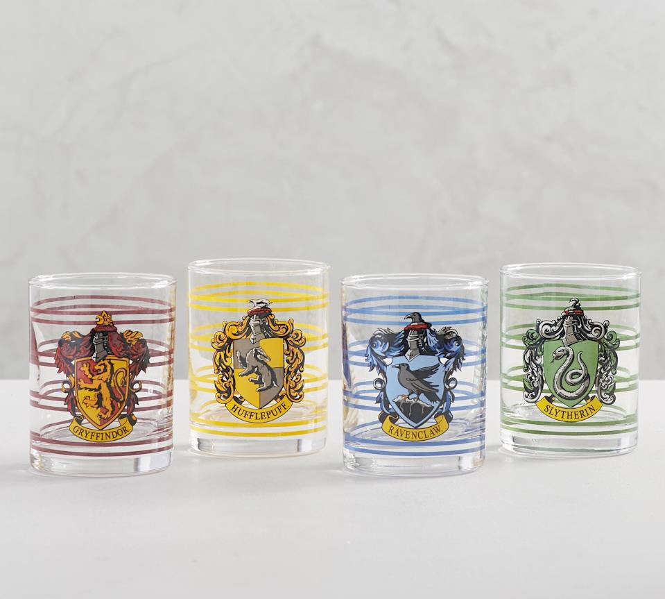 """<p>Serve up drinks at dinnertime in these <a rel=""""nofollow noopener"""" href=""""https://www.popsugar.com/buy/House-Crest-Tumblers-362138?p_name=House%20Crest%20Tumblers&retailer=potterybarn.com&price=48&evar1=moms%3Aus&evar9=45219298&evar98=https%3A%2F%2Fwww.popsugar.com%2Fmoms%2Fphoto-gallery%2F45219298%2Fimage%2F45219307%2FHouse-Crest-Tumblers&list1=home%20decor%2Charry%20potter%2Cpottery%20barn%2Charry%20potter%20home%20decor%2Charry%20potter%20home%2Chome%20shopping&prop13=desktop&pdata=1"""" target=""""_blank"""" data-ylk=""""slk:House Crest Tumblers"""" class=""""link rapid-noclick-resp"""">House Crest Tumblers</a> ($48 for a set of four).</p>"""