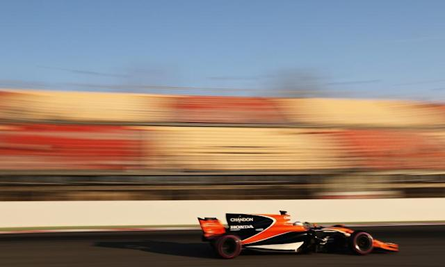 """<span class=""""element-image__caption"""">Fernando Alonso in the new McLaren pre-season.</span> <span class=""""element-image__credit"""">Photograph: Mark Thompson/Getty Images</span>"""