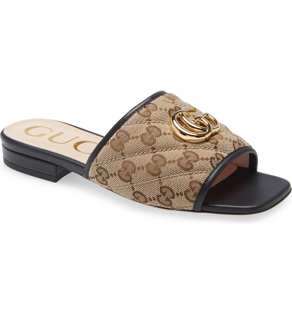 <p>This <span>Gucci Jolie Slide Sandal</span> ($680) blends comfort and style effortlessly. Go ahead and treat yourself to a pair you'll cherish forever.</p>