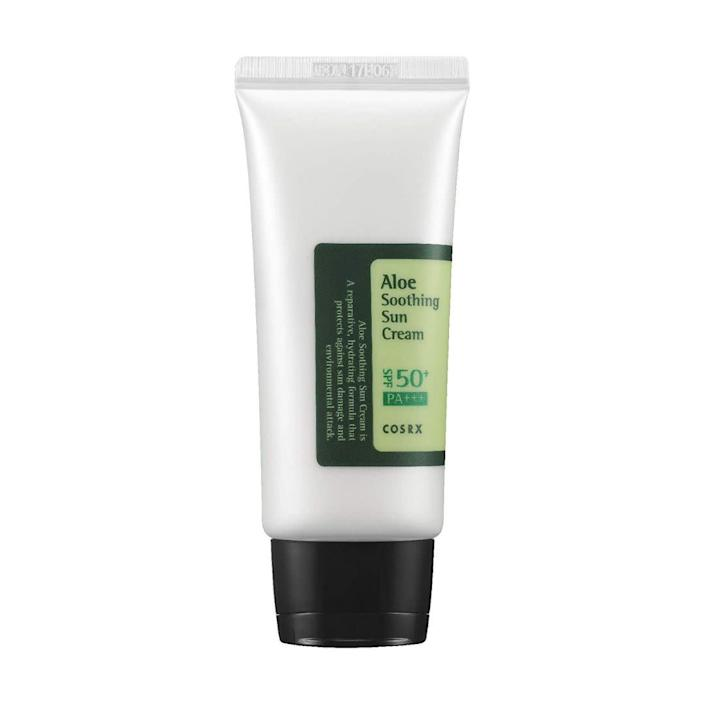 """&ldquo;It&rsquo;s ultra light, but spreads beautifully. And it smells lovely.&rdquo; <i>― Molly Redden, senior politics reporter<br><br></i><strong>Get the <a href=""""https://www.amazon.com/COSRX-Aloe-Soothing-Cream-SPF50/dp/B00PBX3FLW?tag=thehuffingtop-20"""" rel=""""nofollow noopener"""" target=""""_blank"""" data-ylk=""""slk:CosRX Aloe soothing sun cream"""" class=""""link rapid-noclick-resp"""">CosRX Aloe soothing sun cream</a> for $15.</strong>"""