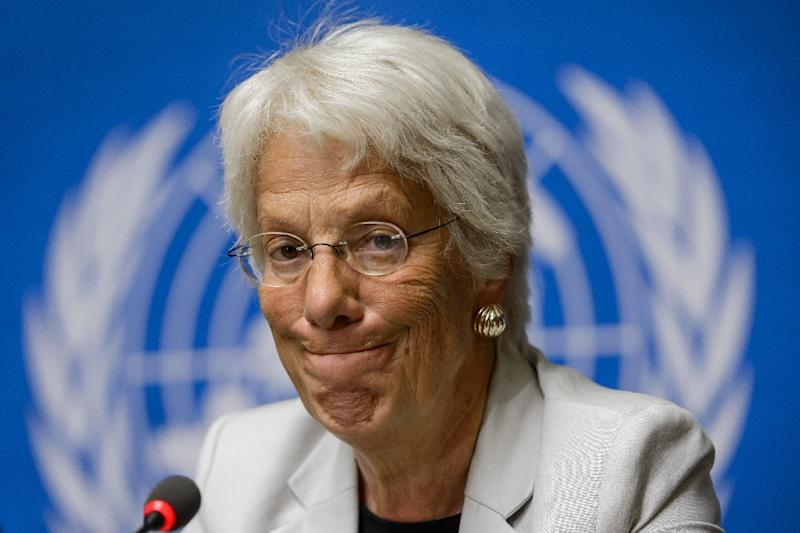 "Former war crimes prosecutor Carla Del Ponte, who is currently probing rights abuses in Syria, thinks Russian intervention is a good thing but that the Russians ""are not distinguishing enough between the terrorists and others"""