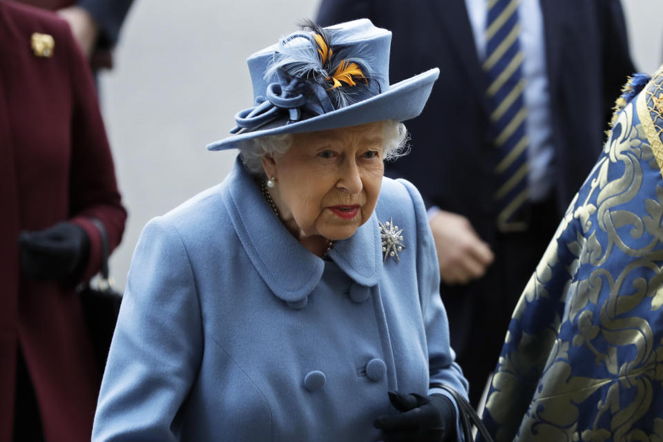 Britain's Queen Elizabeth II arrives to attend the annual Commonwealth Day service