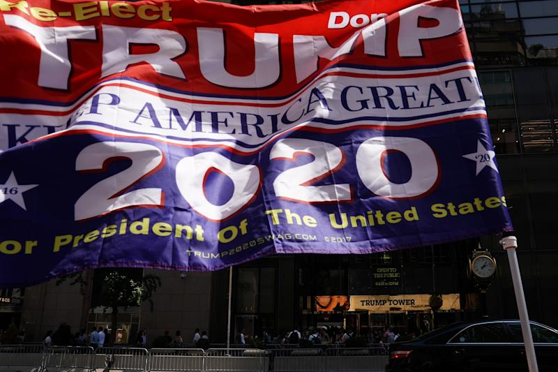 A flag is pictured outside Trump Tower in New York City, New York, U.S., August 24, 2018. REUTERS/Carlo Allegri