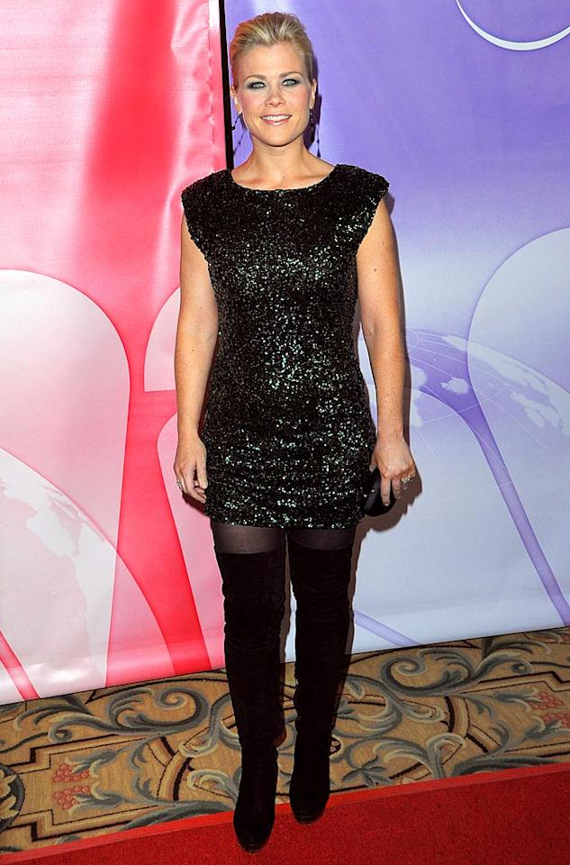 """At NBC's Press Tour Cocktail Party the night before, """"Biggest Loser"""" hostess with the mostest Alison Sweeney sparkled in a bedazzled mini, thigh-high suede boots, and her signature smile. Jason Merritt/<a href=""""http://www.gettyimages.com/"""" target=""""new"""">GettyImages.com</a> - January 10, 2010"""