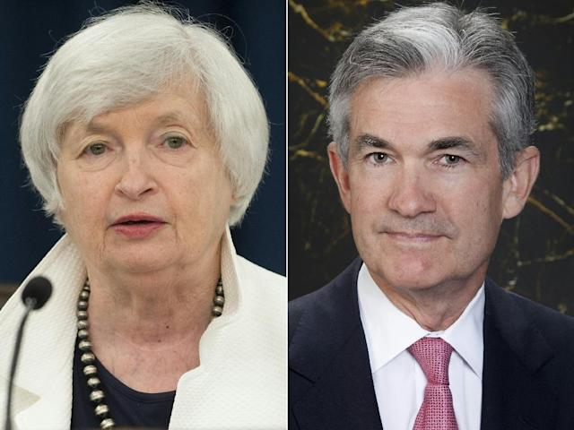 Current Federal Reserve Chair Janet Yellen (L) and Federal Reserve Governor Jerome Powell, Yellen's chosen successor (AFP Photo/SAUL LOEB, Britt LECKMAN)