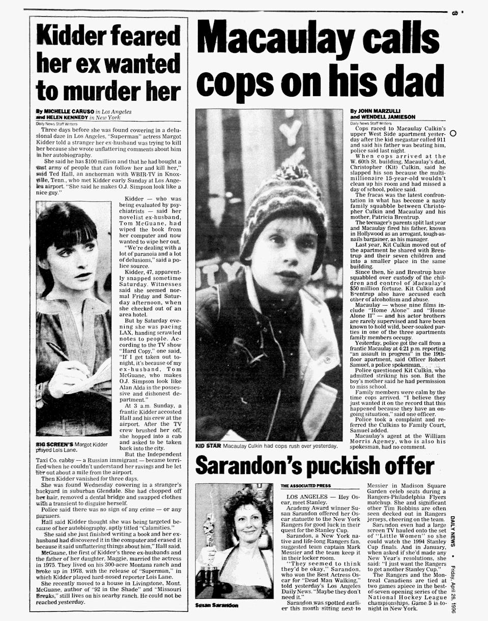 The <em>New York Daily News</em> on April 26, 1996, featured a story about Margot Kidder's disappearance along with headlines about Macaulay Culkin and Susan Sarandon. (Photo: N.Y. Daily News Archive via Getty Images)