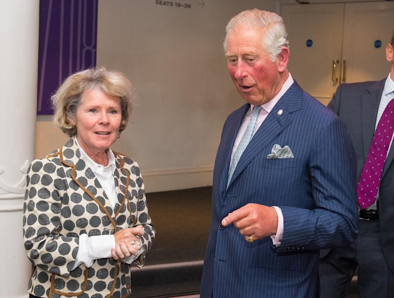 LONDON, ENGLAND - SEPTEMBER 5: Prince Charles, Prince of Wales meets actress Imelda Staunton at the Old Vic Theatre during a visit to mark the theatre's 200th anniversary on September 5, 2018 in London, England. (Photo by Dominic Lipinski-WPA Pool/Getty Images)