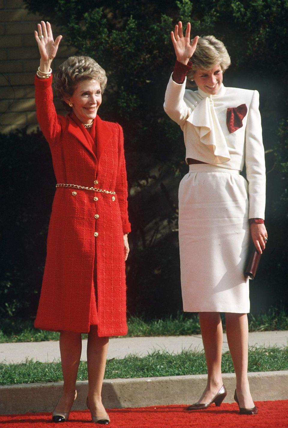 <p>Photographed alongside First Lady Nancy Reagan, as the pair visit a drug rehabilitation centre on an official trip to Virginia, United States.</p>