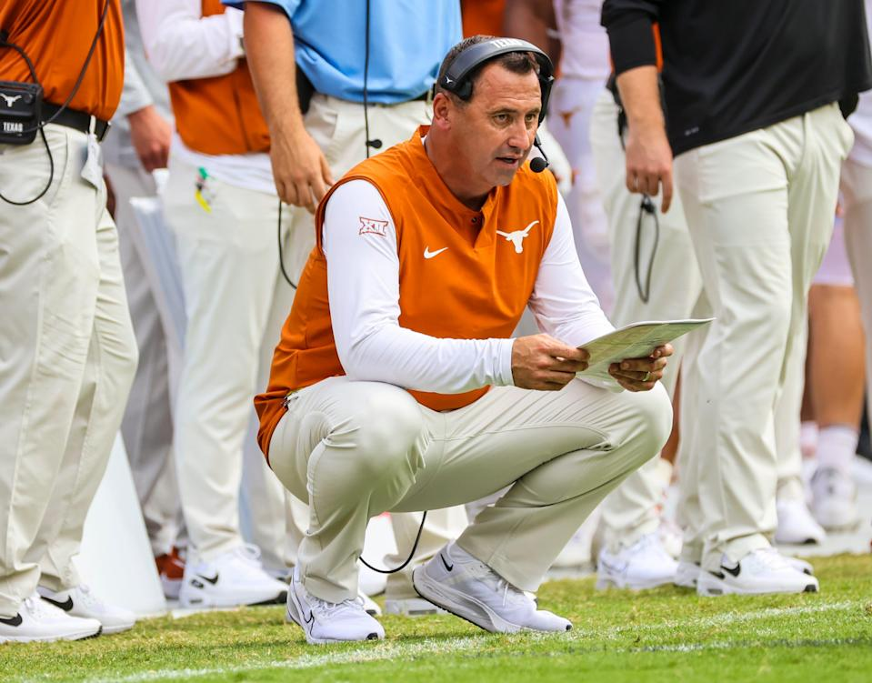 Texas Longhorns head coach Steve Sarkisian during the second half against the TCU Horned Frogs at Amon G. Carter Stadium on Oct. 2, 2021, in Fort Worth, Texas.