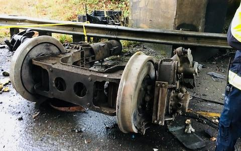 Photograph posted on Twitter by Pierce Co Sheriff's Department shows Amtrak train derailment near Tacoma