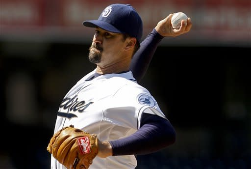 San Diego Padres starting pitcher Jeff Suppan throws to the Milwaukee Brewers during the first inning of a baseball game, Wednesday, May 2, 2012, in San Diego. (AP Photo/Lenny Ignelzi)