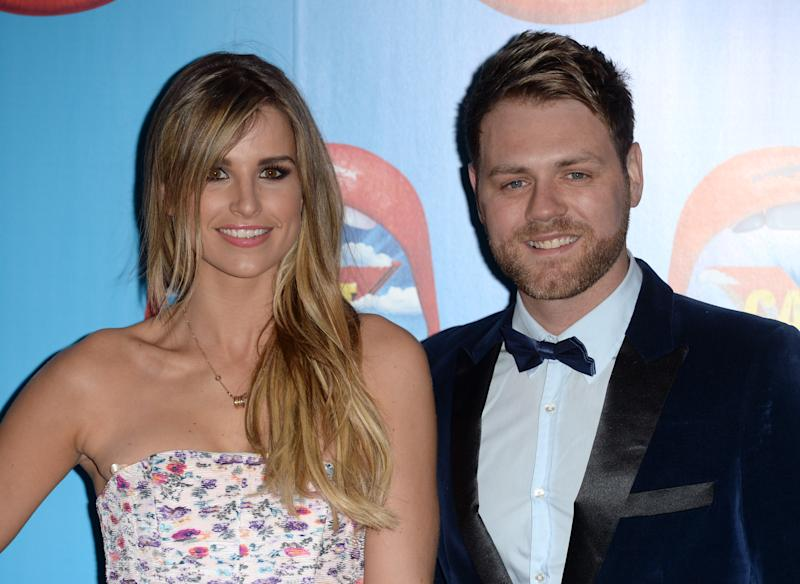 Vogue Williams and Brian McFadden arriving at the I Can't Sing! Stage Show Opening Night, London Palladium, London.