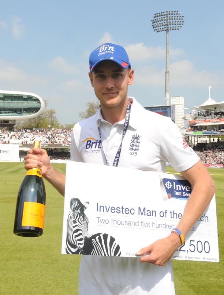 England's man of the match Stuart Broad poses for media following the first test at Lord's Cricket Ground, London.
