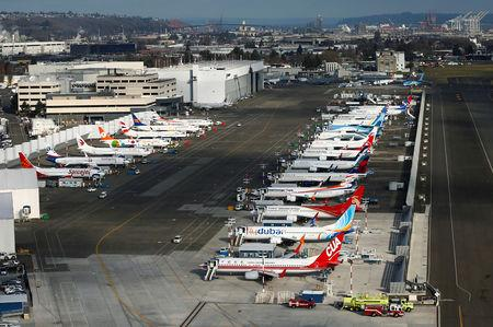 An aerial photo shows several Boeing 737 MAX airplanes grounded at Boeing Field in Seattle, Washington, U.S. March 21, 2019.  REUTERS/Lindsey Wasson