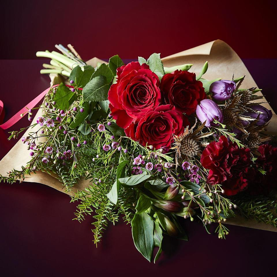 <p>Post some flowers to a loved one with these beautiful Christmas blooms. It features an abundance of red and purple festive flowers and scented foliages – there's even a step-by-step guide on how to arrange them to look their best.</p>