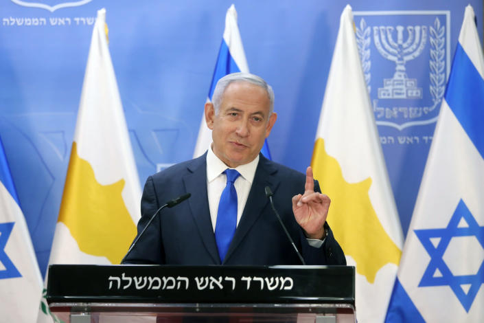 Israeli Prime Minister Benjamin Netanyahu delivers a statement with Cyprus President Nicos Anastasiades (not shown) after meeting in Jerusalem, Sunday, Feb. 14, 2021. (Marc Israel Sellem/Pool via AP)