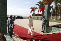 Ivanka Trump, the daughter and senior adviser to President Donald Trump, walks out as she leaves Casablanca, Morocco, Friday, Nov. 8, 2019, on return to Washington, after a trip to Morocco promoting a global economic program for women. (AP Photo/Jacquelyn Martin)