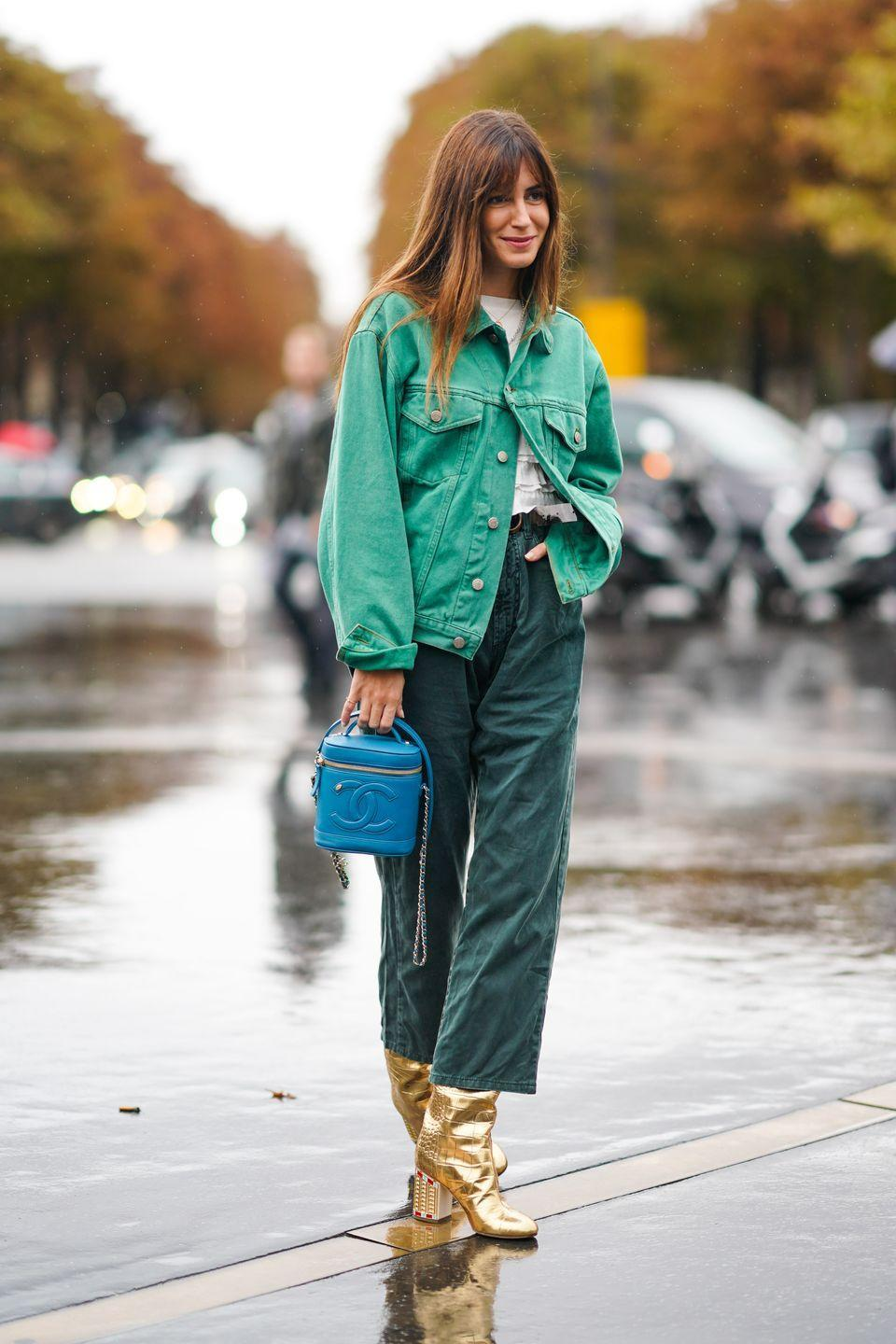 <p>Intensify your wardrobe's color palette by considering a green jean jacket as your newest addition. Any look that's monochrome is instantly chic, so add a dark-green pant to match.</p>