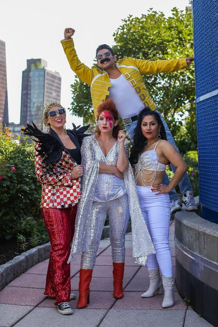 """<p>You are the champions, my friends! Pay tribute to some of the biggest musical stars of the '80s by dressing up as Freddie Mercury, David Bowie, Selena, and Elton John. </p><p><strong>See more at <a href=""""https://dandyinthebronx.com/costume-idea-freddie-mercury/"""" rel=""""nofollow noopener"""" target=""""_blank"""" data-ylk=""""slk:Dandy in the Bronx"""" class=""""link rapid-noclick-resp"""">Dandy in the Bronx</a>.</strong></p><p><strong><a class=""""link rapid-noclick-resp"""" href=""""https://www.amazon.com/FEISEDY-Sparkling-Crystal-Sunglasses-Oversized/dp/B077GMJCV8/ref=sr_1_2_sspa?tag=syn-yahoo-20&ascsubtag=%5Bartid%7C2164.g.32645069%5Bsrc%7Cyahoo-us"""" rel=""""nofollow noopener"""" target=""""_blank"""" data-ylk=""""slk:SHOP SPARKLY SUNGLASSES"""">SHOP SPARKLY SUNGLASSES</a></strong></p>"""